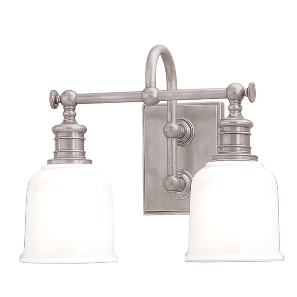 Bathroom Light With White Glass In Satin Nickel Finish 1972 Sn Destination Lighting
