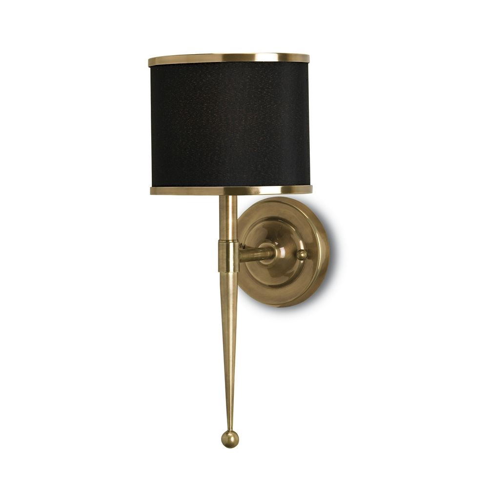 currey and company lighting plugin wall lamp with black shade in brass finish