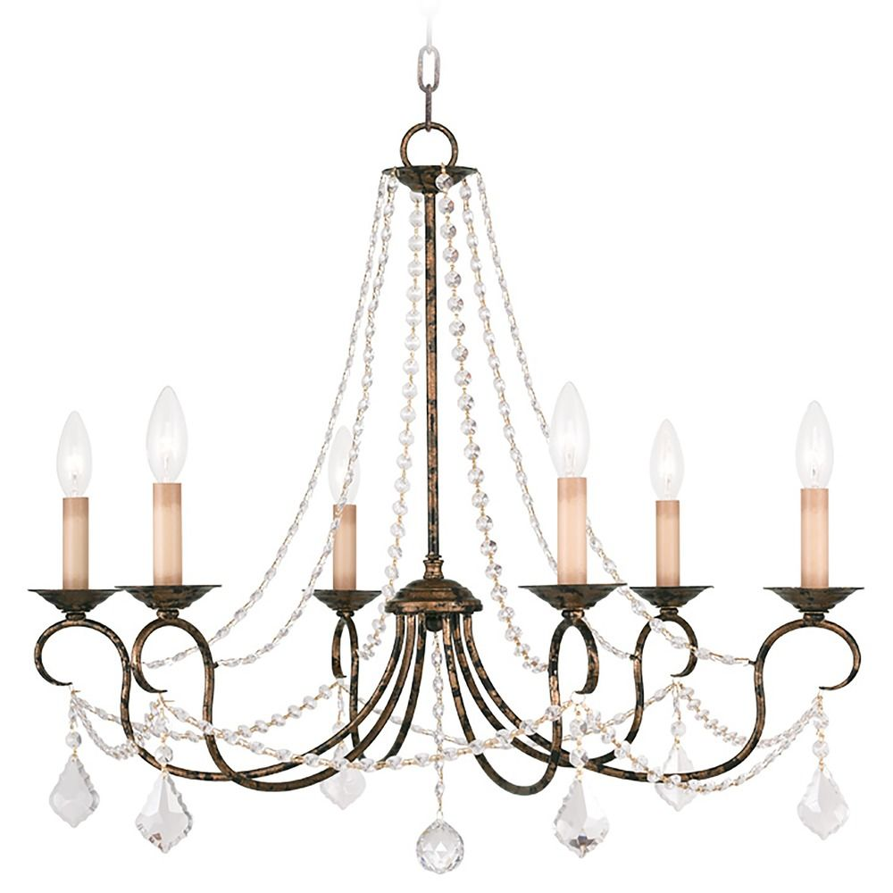 Venetian Bronze Chandelier: Livex Lighting Pennington Venetian Golden Bronze Crystal
