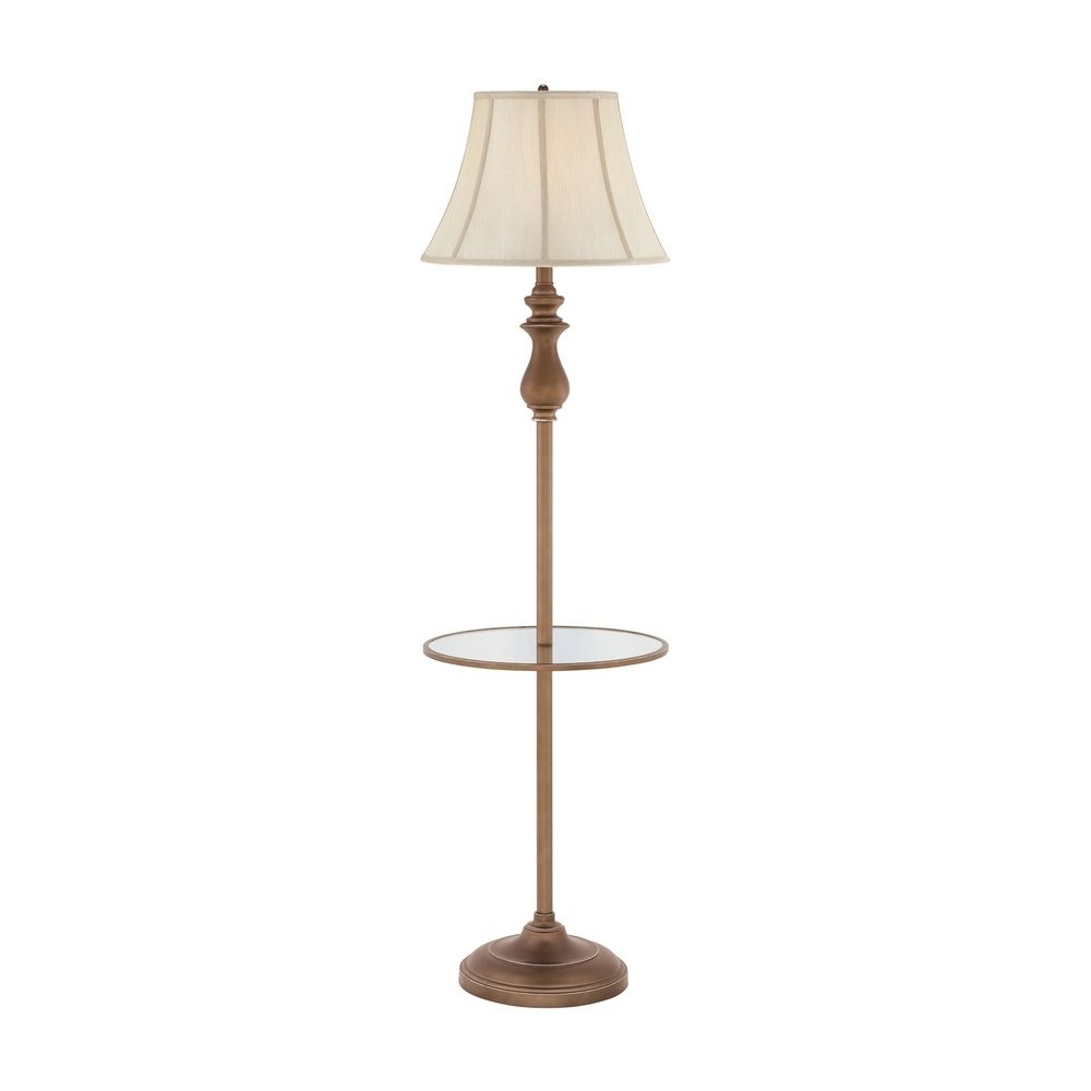 Gallery tray lamp with white shade in palladian bronze for Floor lamp with gallery tray