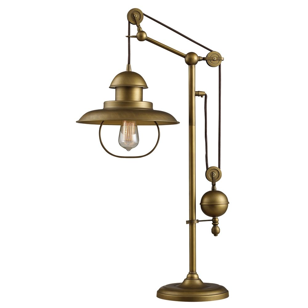 Pulley table lamp antique brass finish d2252 for Images of table lamps