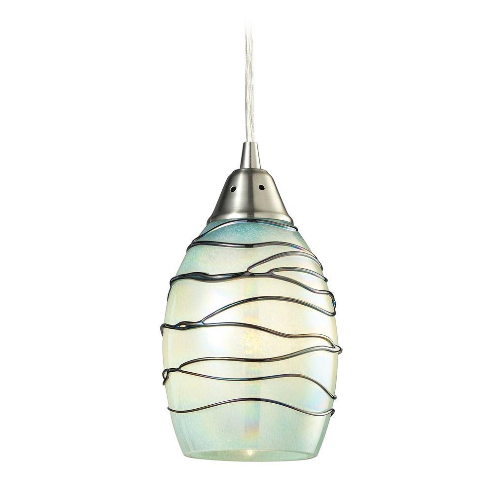 led mini pendant light with blue glass 31348 1mn led