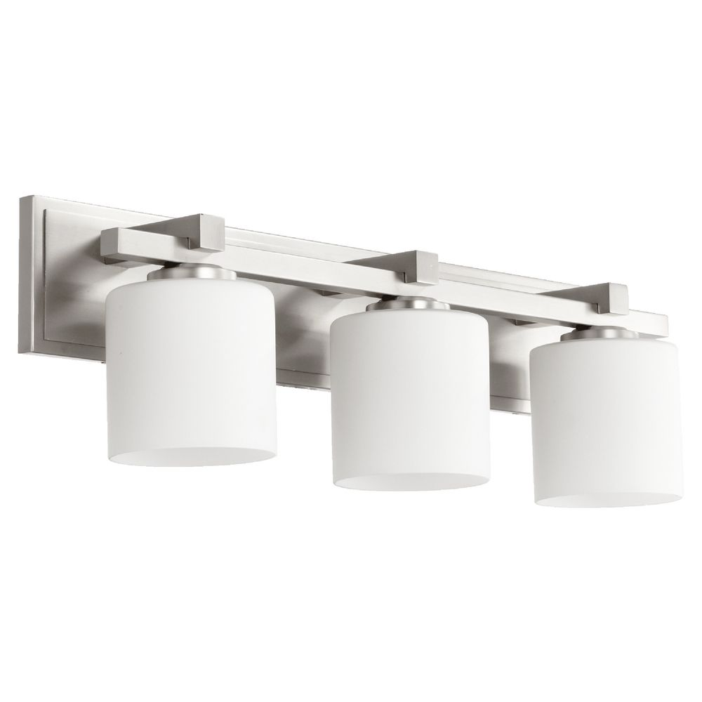 Quorum Lighting Satin Nickel Bathroom Light 5369 3 65 Destination Lighting
