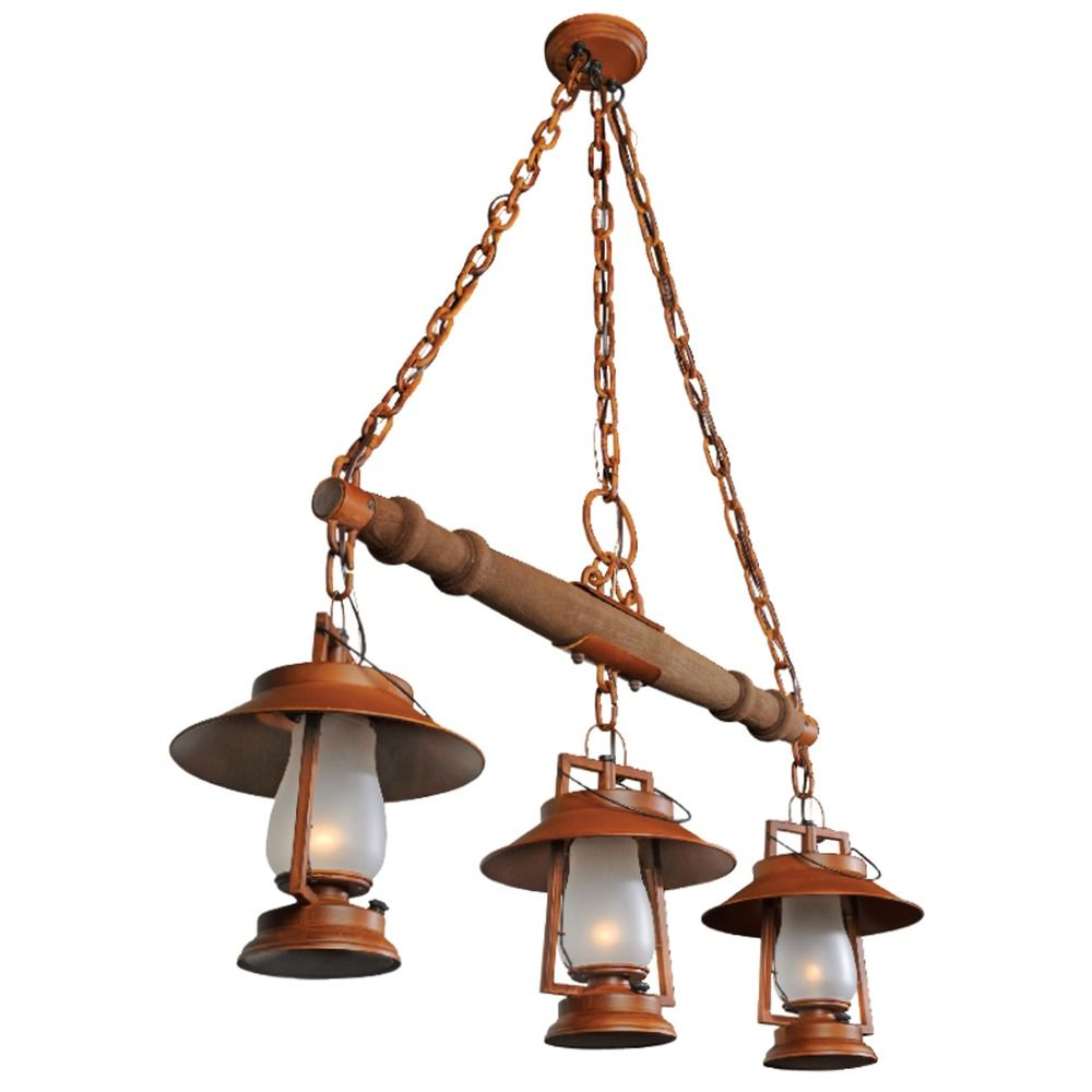 3-Light Rustic Yoke Mount Pendant