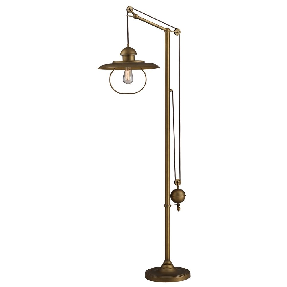 Beautiful Elk Lighting Pulley Swing Arm Floor Lamp   Brass Finish D2254