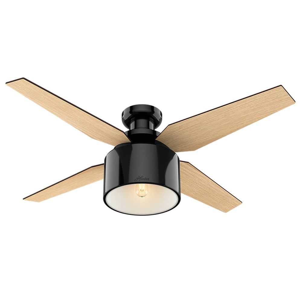 Hunter Fan Company Cranbrook Low Profile Gloss Black Led Ceiling With Light