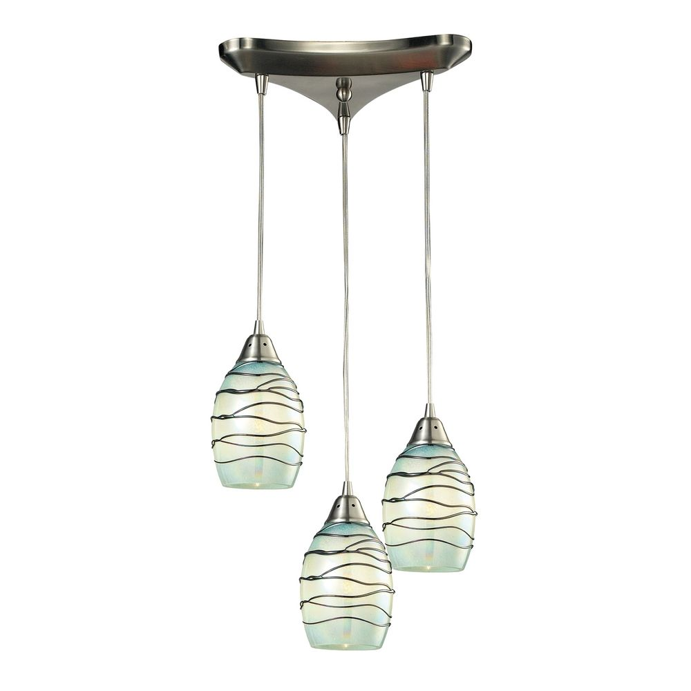 Multi-Light Pendant Light With Mint Green Glass And 3