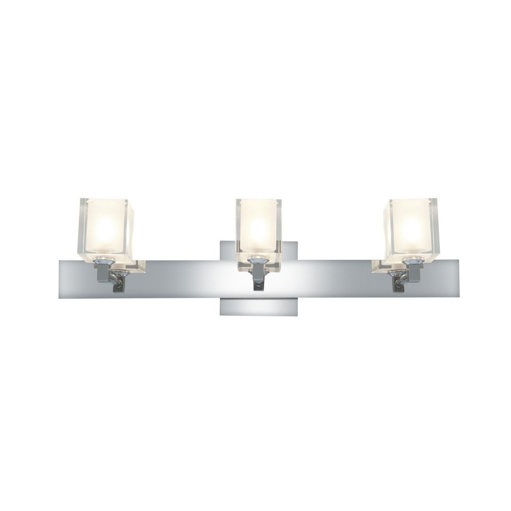Modern Vanity Lighting Chrome : Modern Bathroom Light with White Glass in Chrome Finish 23917-CH/FCL Destination Lighting