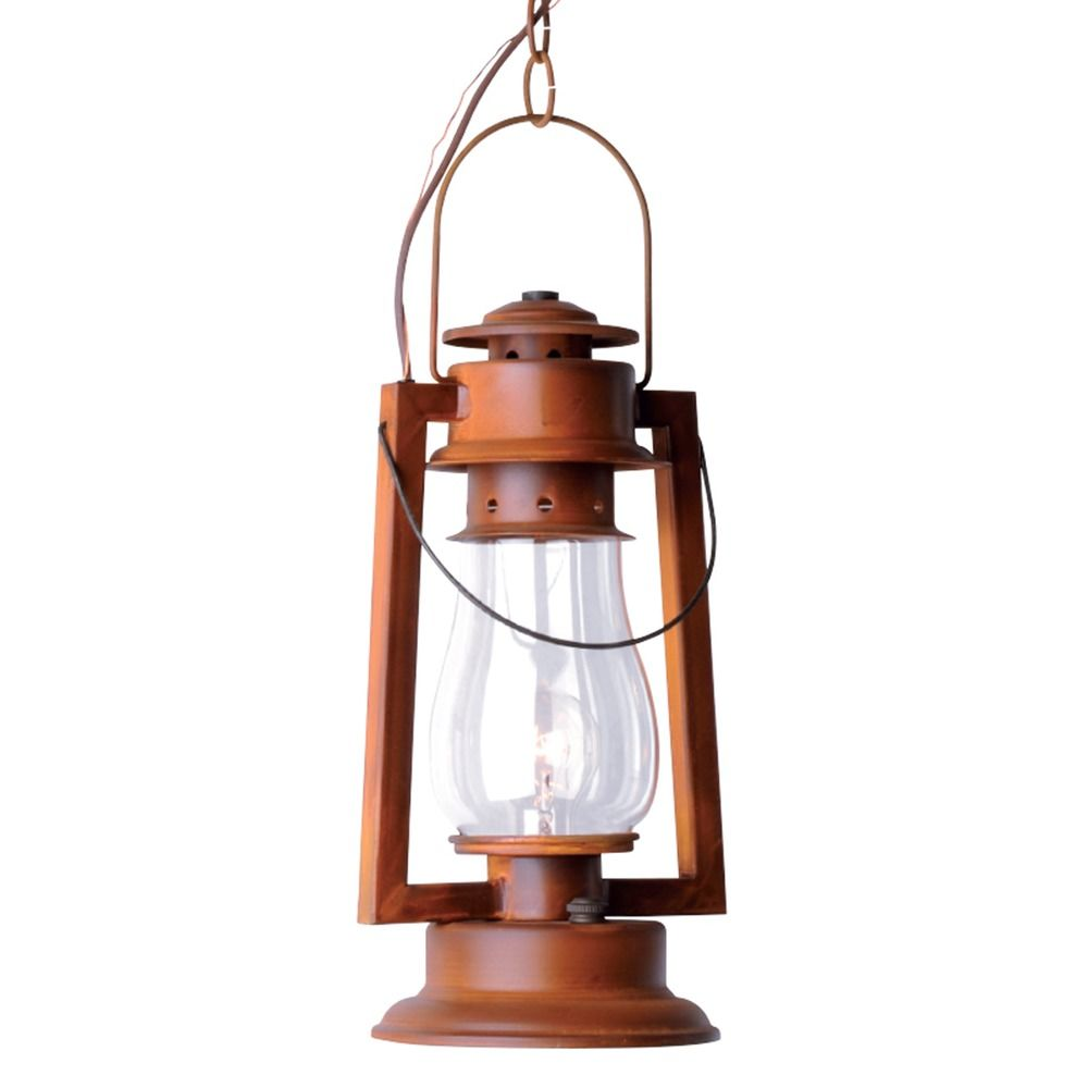 Chain Mount Rustic Hanging Lantern Natural Rust Finish