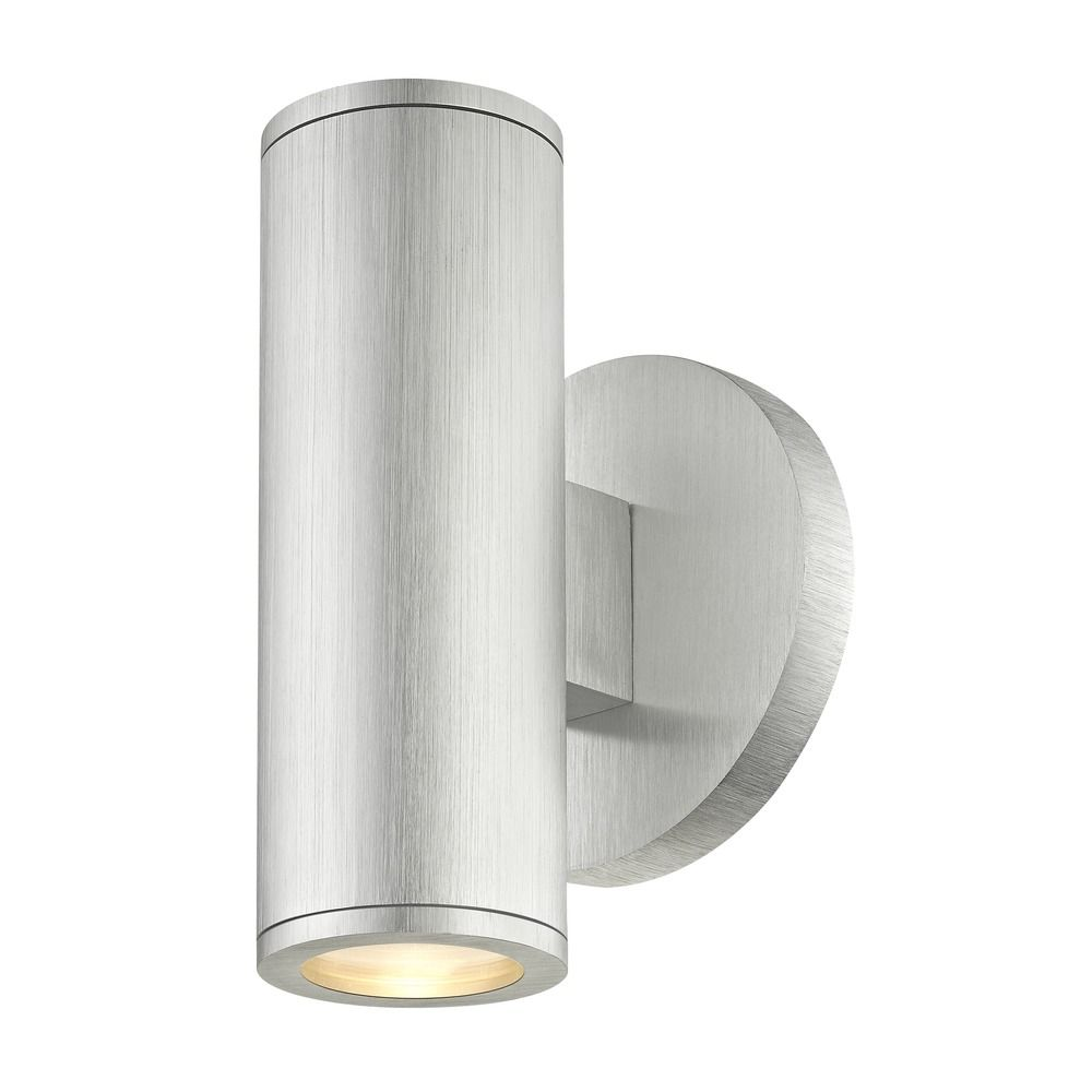 Led Cylinder Outdoor Wall Light Up Down Brushed Aluminum 3000k At Destination Lighting