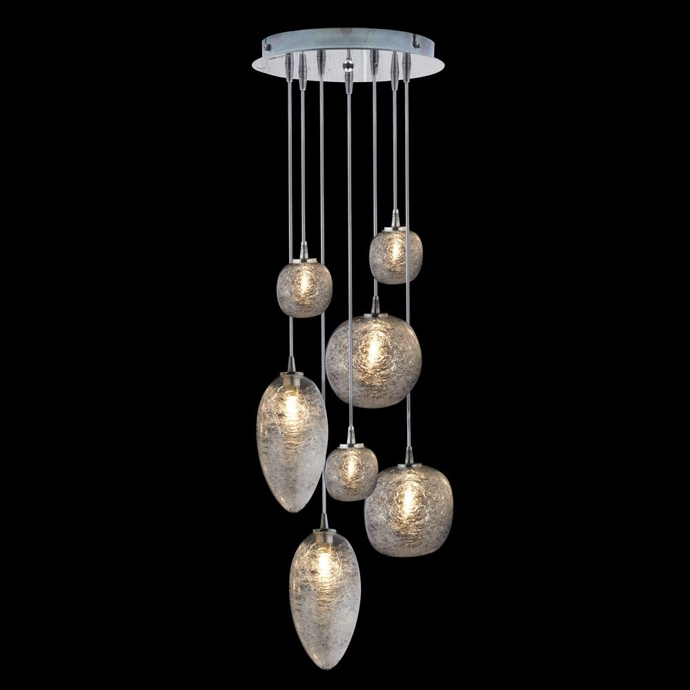 oggetti cosmos satin nickel multi light pendant with bowl
