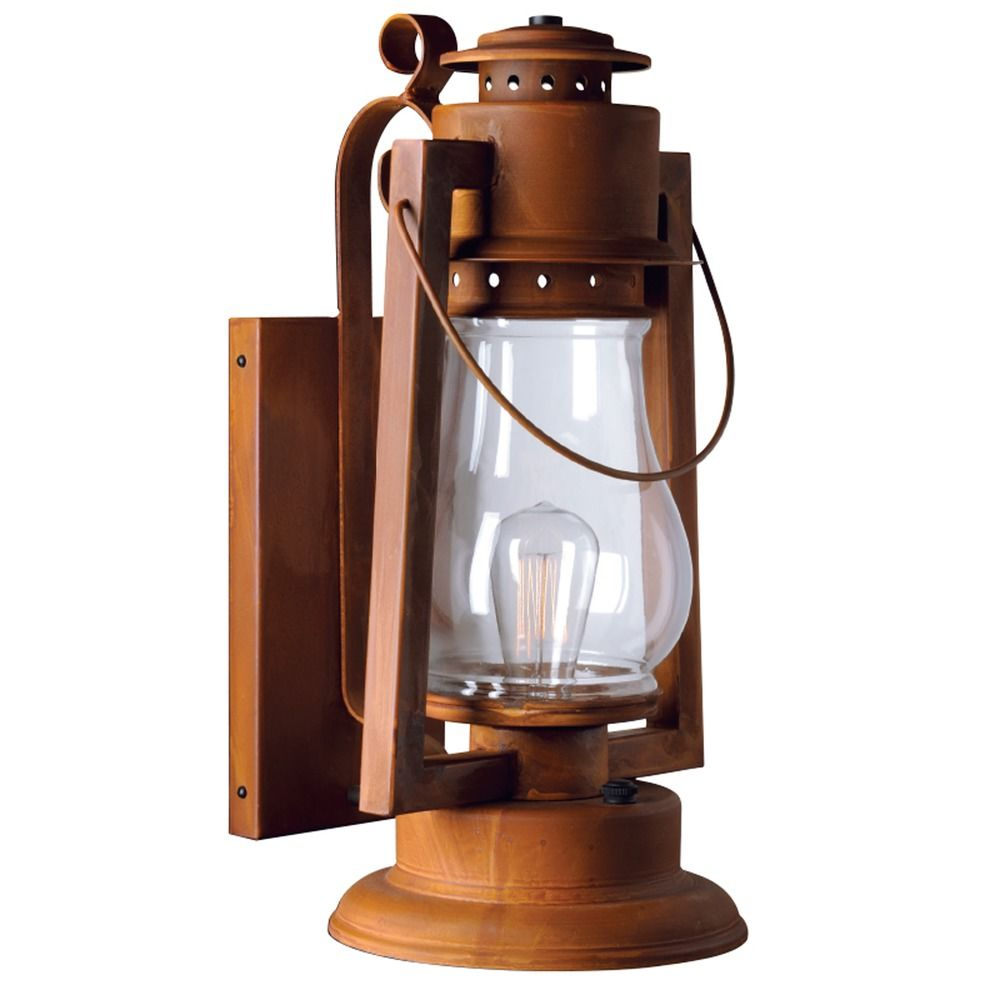 """Large Rustic Finish Lantern Wall Mounted Light Sconce: 20"""" Large Scroll Arm Mount Rustic Outdoor Wall Lantern"""