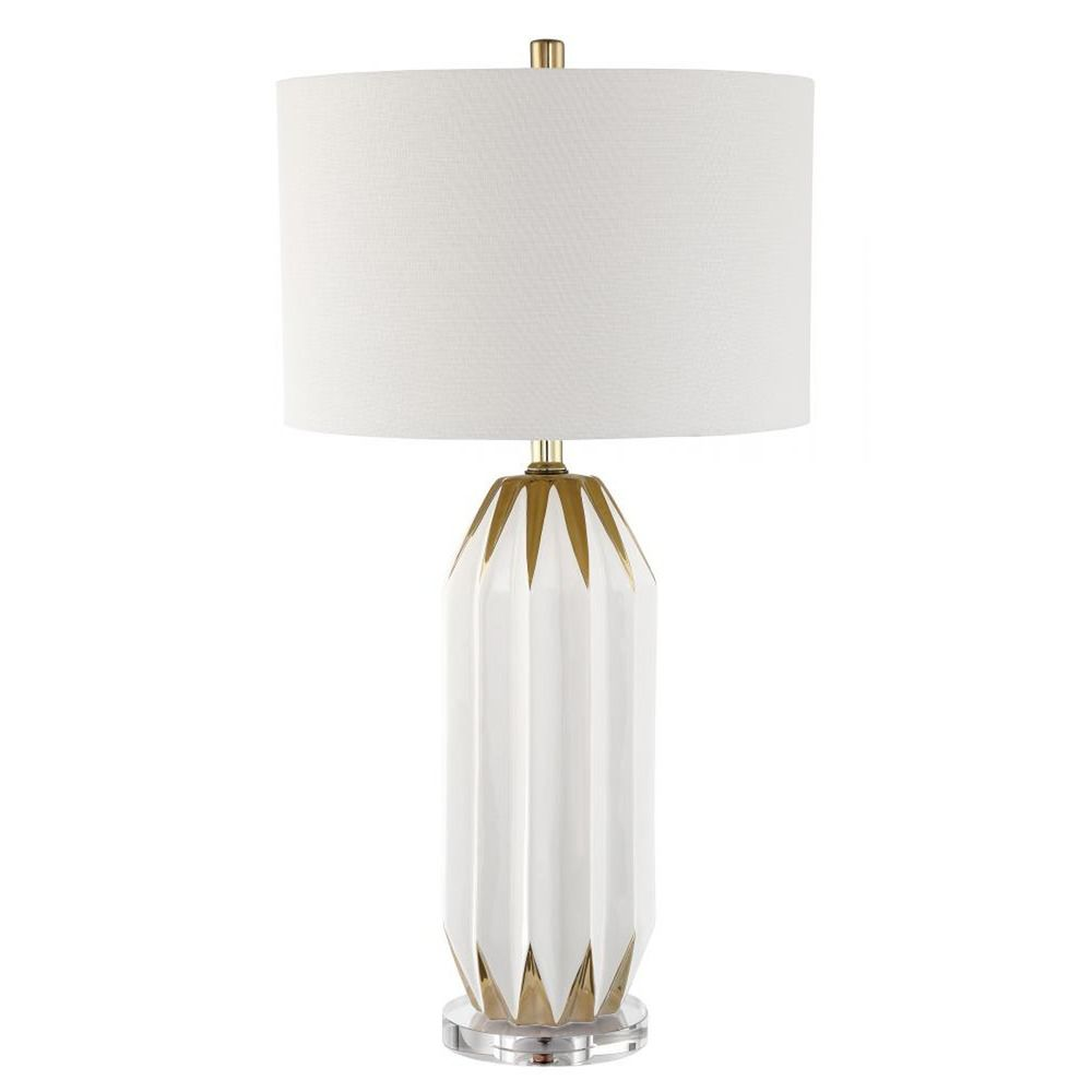 Lite Source Lighting Lite Source Philana White Gold Table Lamp With Drum  Shade LS 23060