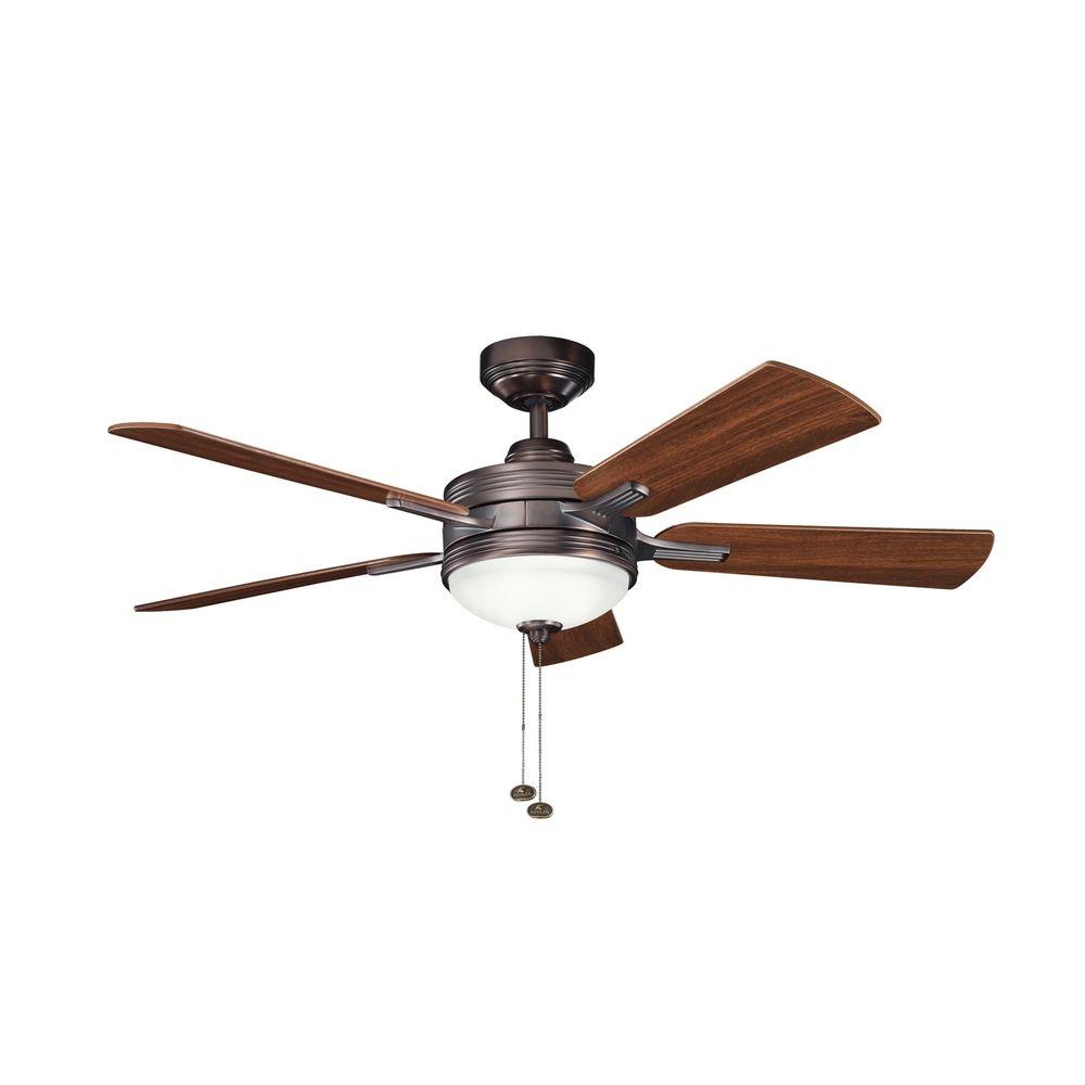 kichler lighting kichler ceiling fan with light kit in oil brushed. Black Bedroom Furniture Sets. Home Design Ideas