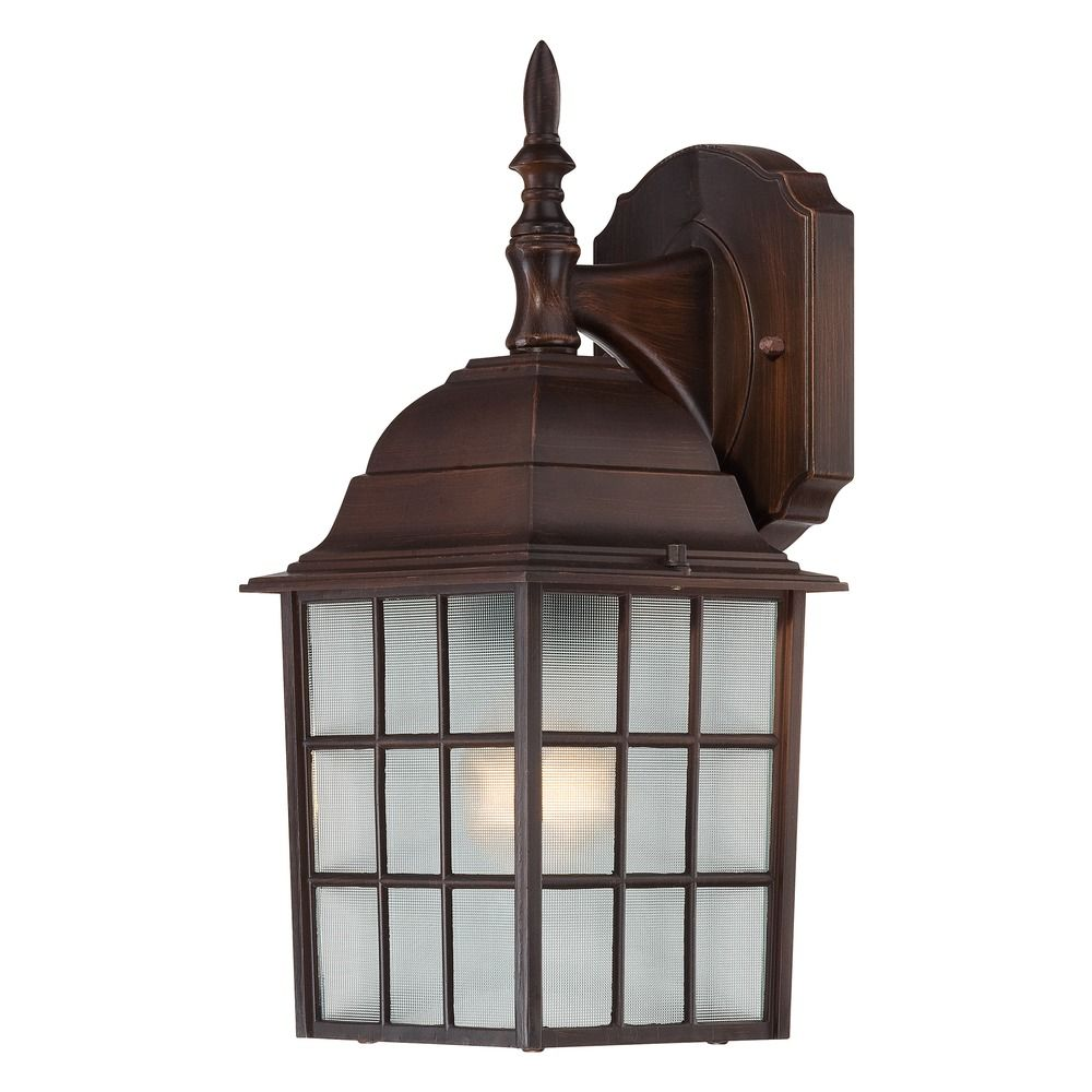 Outdoor Wall Light With White Glass In Rustic Bronze