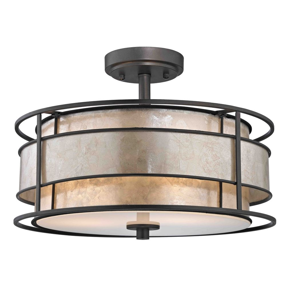 semi flushmount ceiling light with mica drum shade 1681. Black Bedroom Furniture Sets. Home Design Ideas
