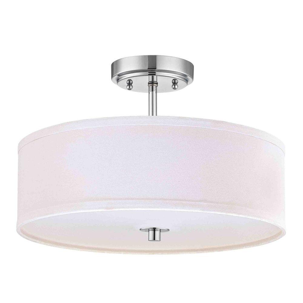 Conical 16 Drum Semi Flush Fixture In 2019: Chrome Semi-Flush Light With White Drum Shade
