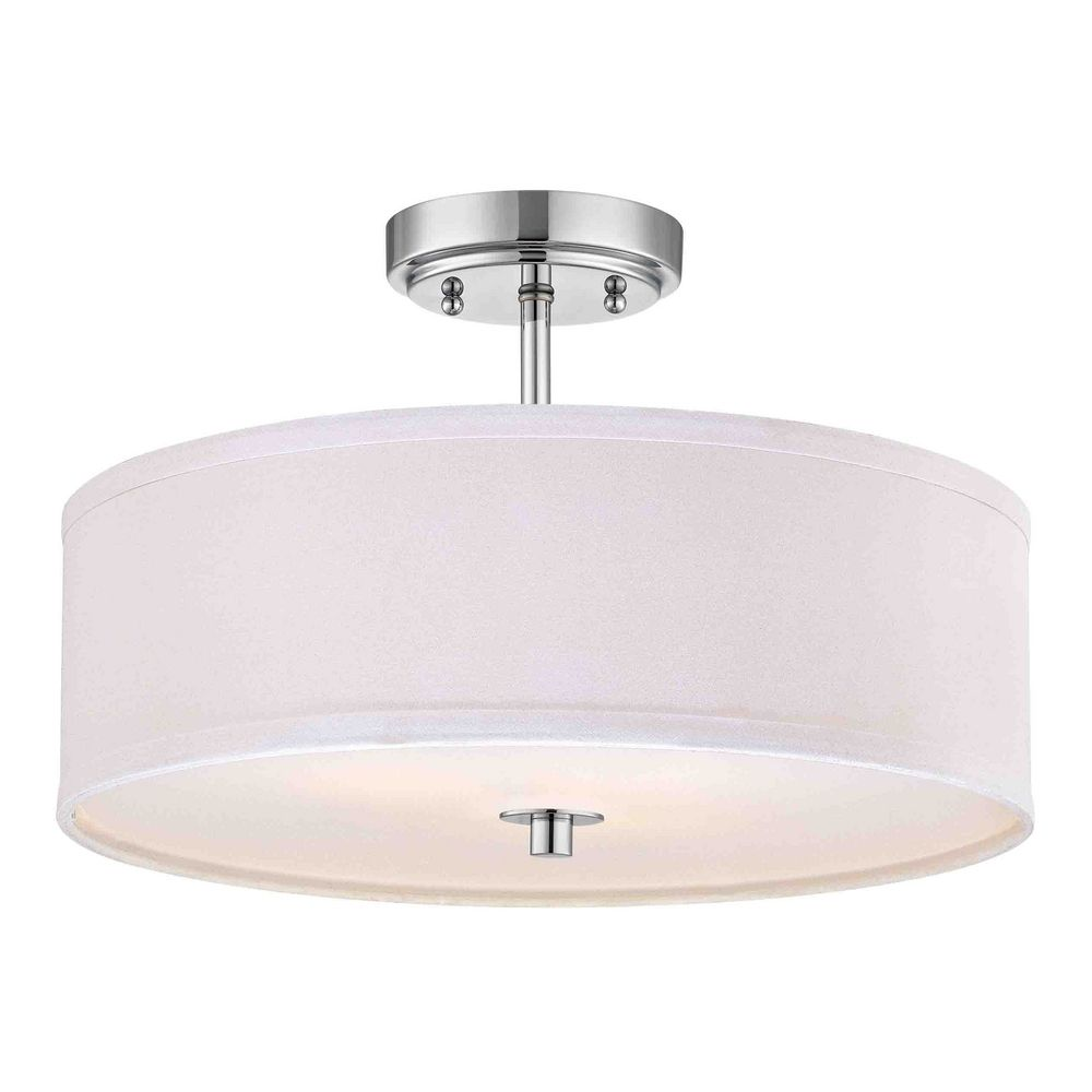 chrome semi flush ceiling light with white drum shade 16. Black Bedroom Furniture Sets. Home Design Ideas