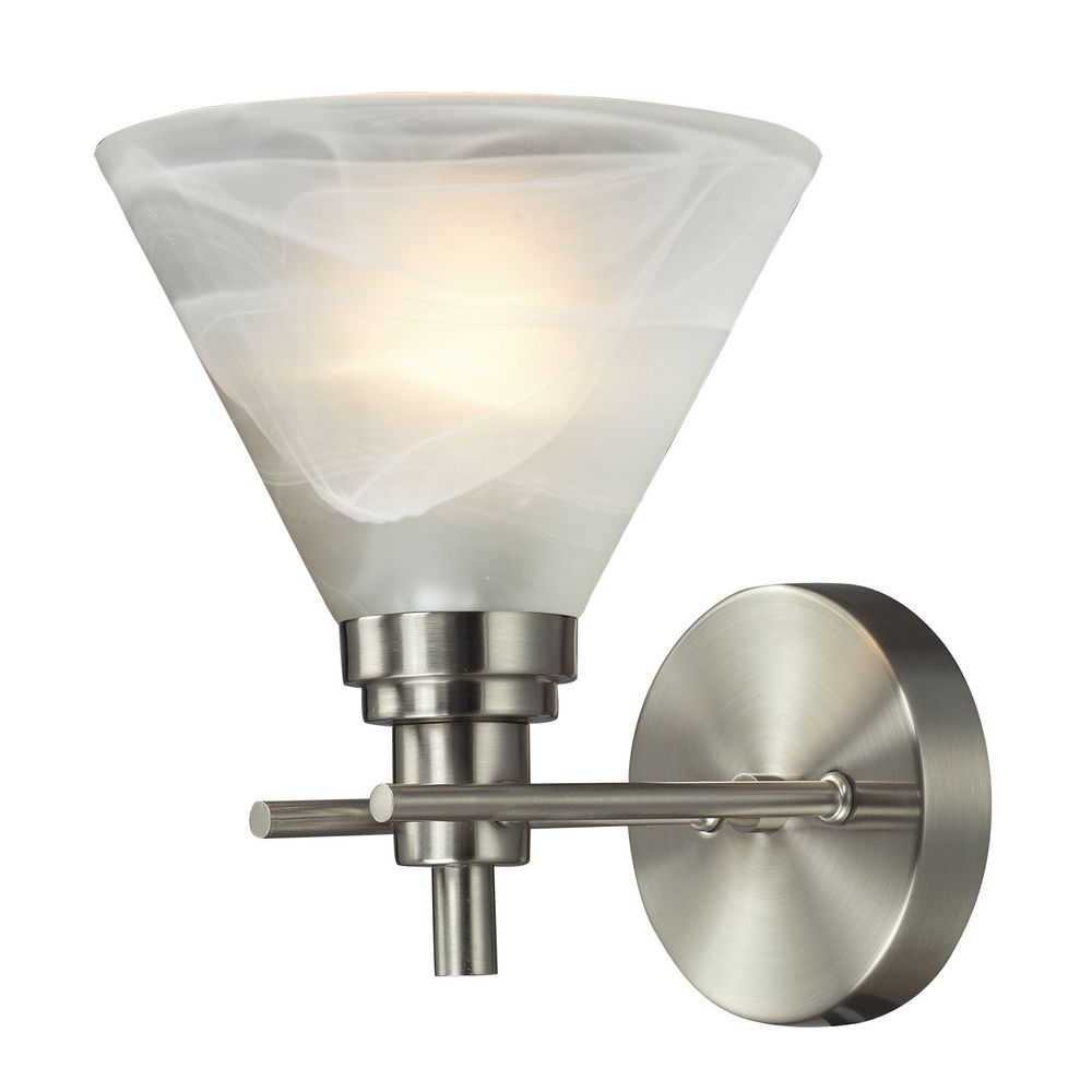 Modern Sconce Wall Light with White Glass in Brushed Nickel Finish 11400/1 Destination Lighting