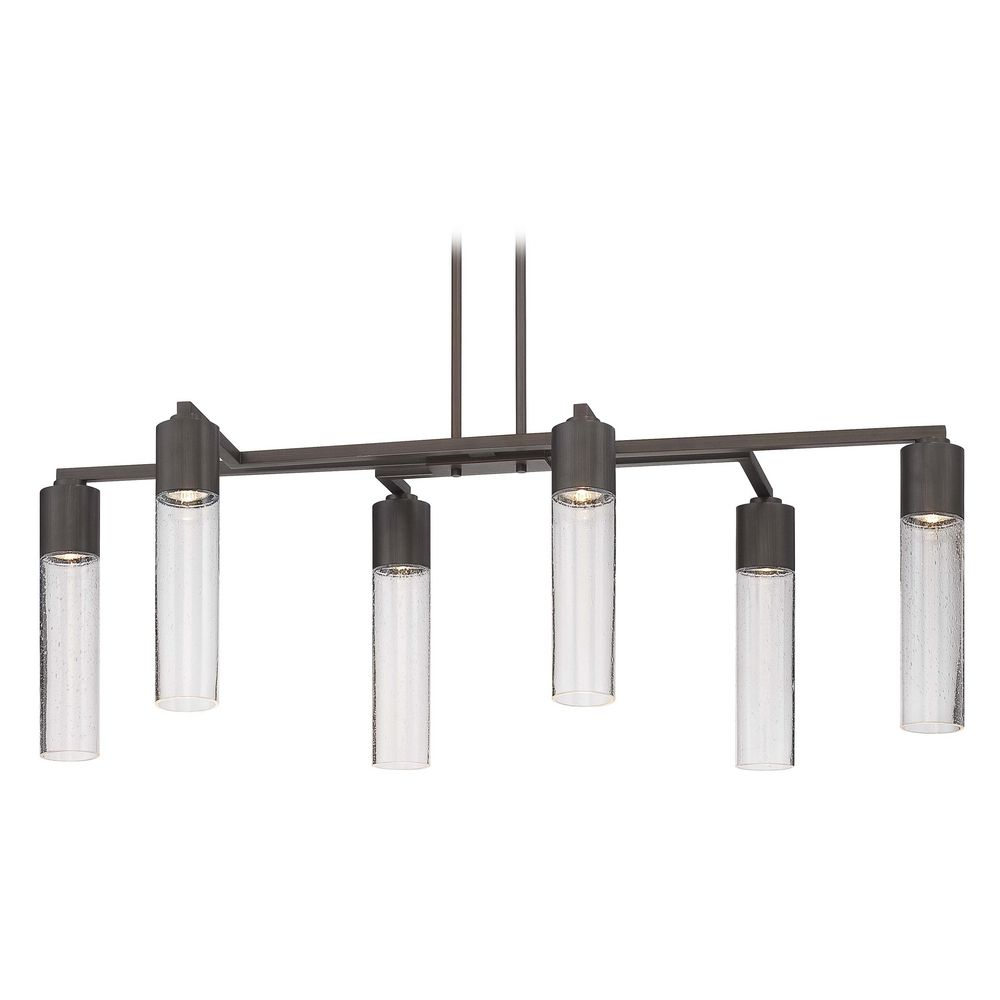 George Kovacs Lighting Modern Seeded Glass Linear Chandelier Bronze 6lt By P976 647