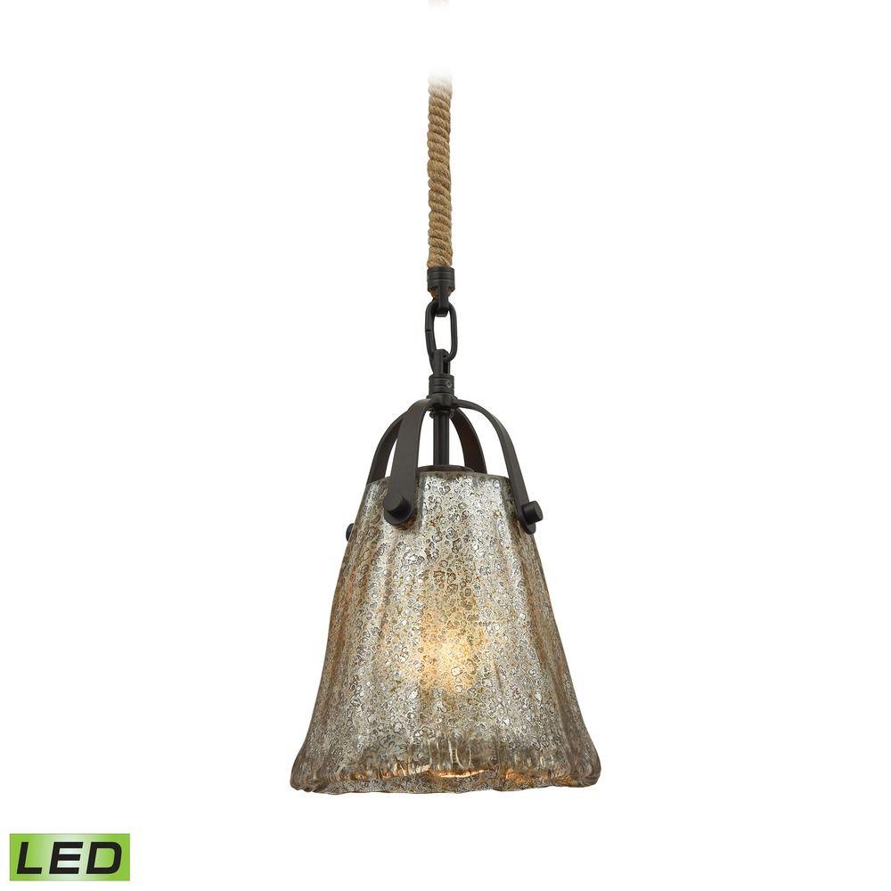 Elk Lighting Schoolhouse Pendant: Mercury Glass LED Mini-Pendant Light Oil Rubbed Bronze Elk