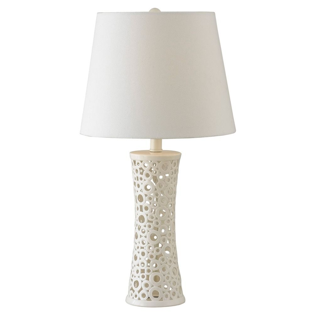 Modern Table Lamp With White Shade In Gloss White Ceramic