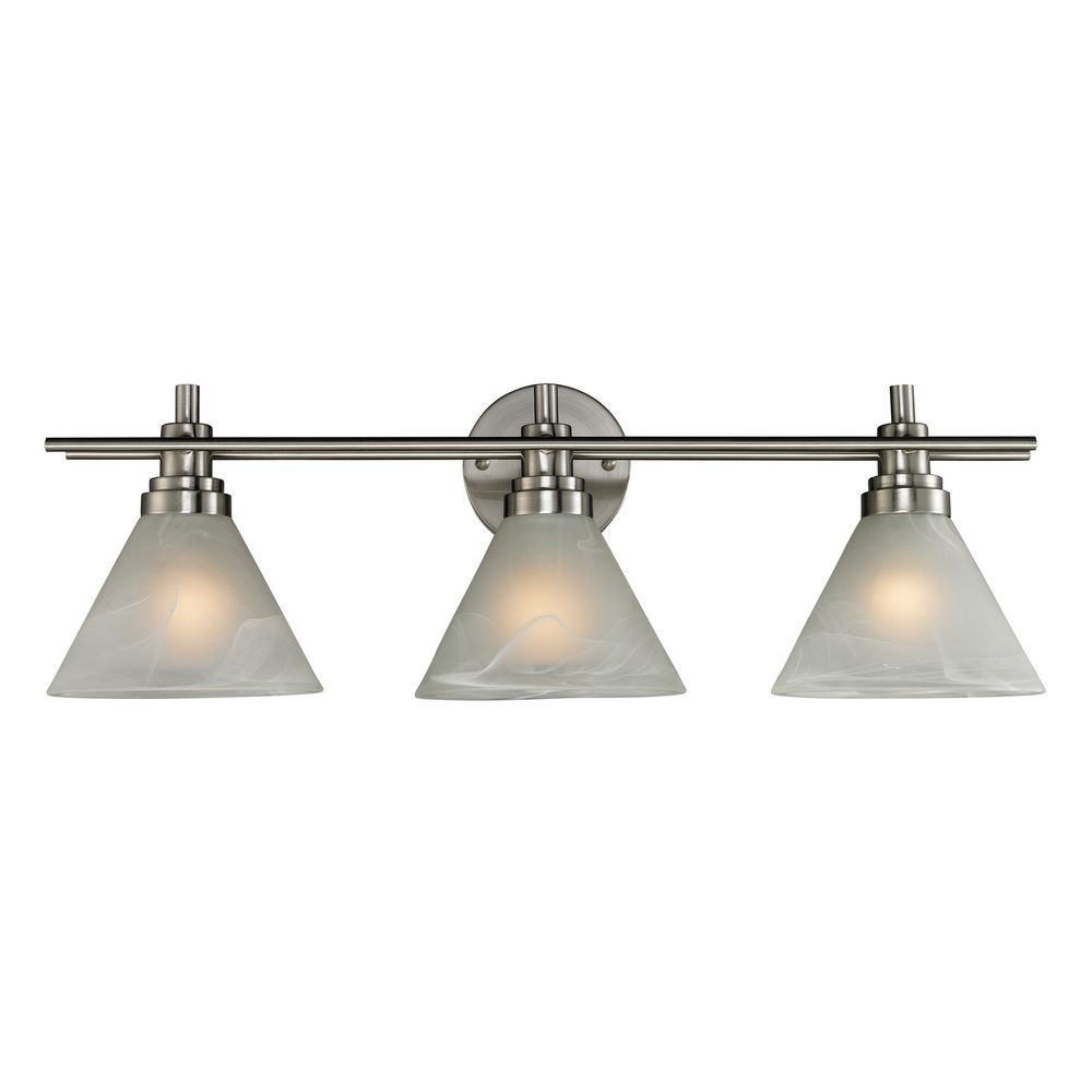 Modern Bathroom Light with White Glass in Brushed Nickel Finish 11402/3 Destination Lighting