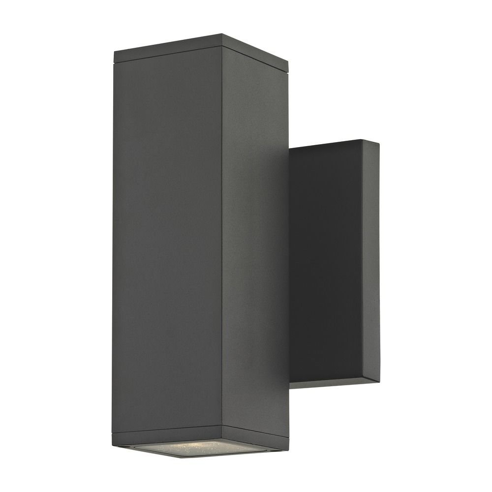 Led Black Outside Wall Light Square Cylinder Up Down