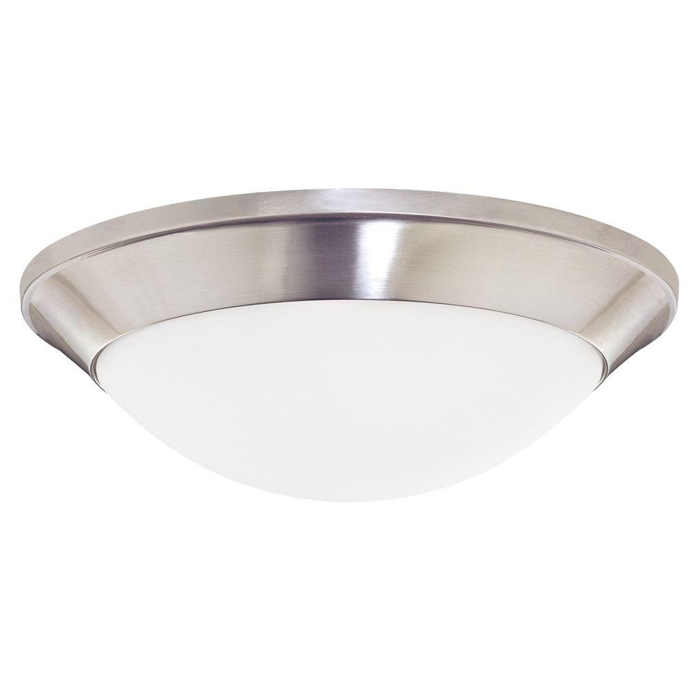 Modern Flushmount Light With White Glass In Satin Nickel