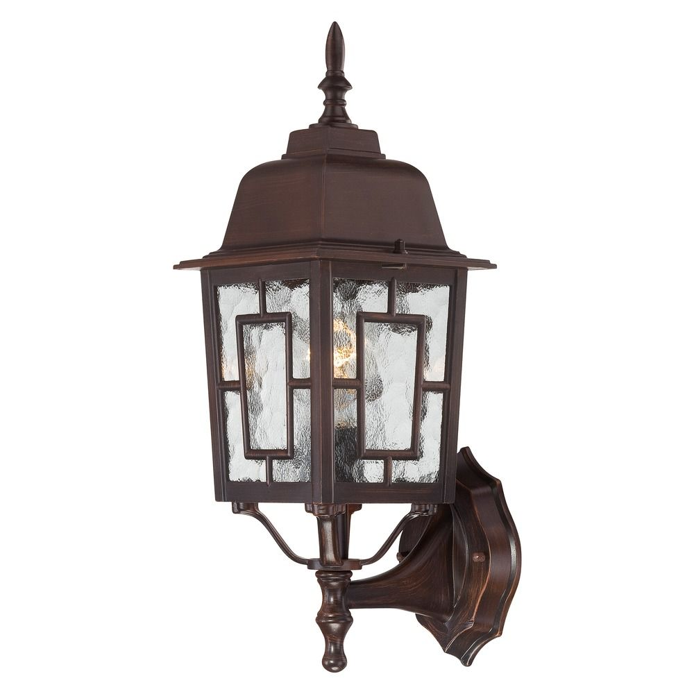 Outdoor Wall Light with Clear Glass in Rustic Bronze