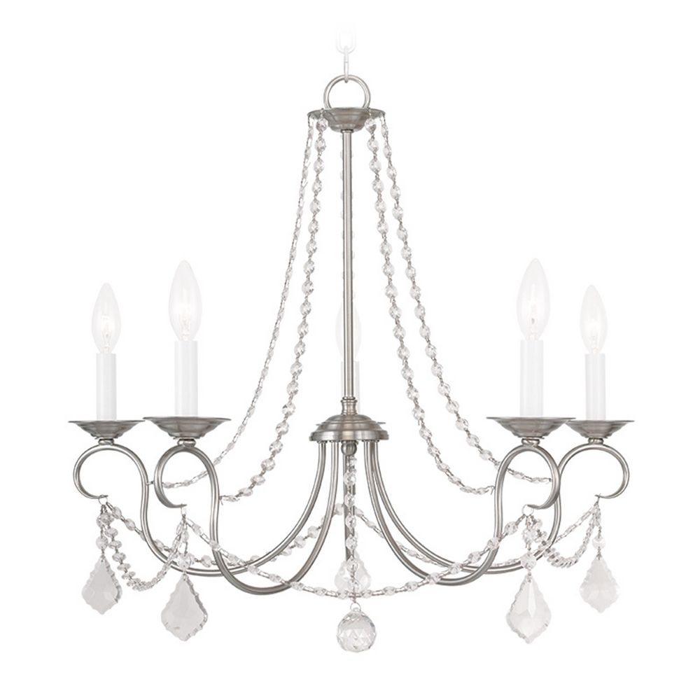 Livex Lighting Pennington Brushed Nickel Crystal