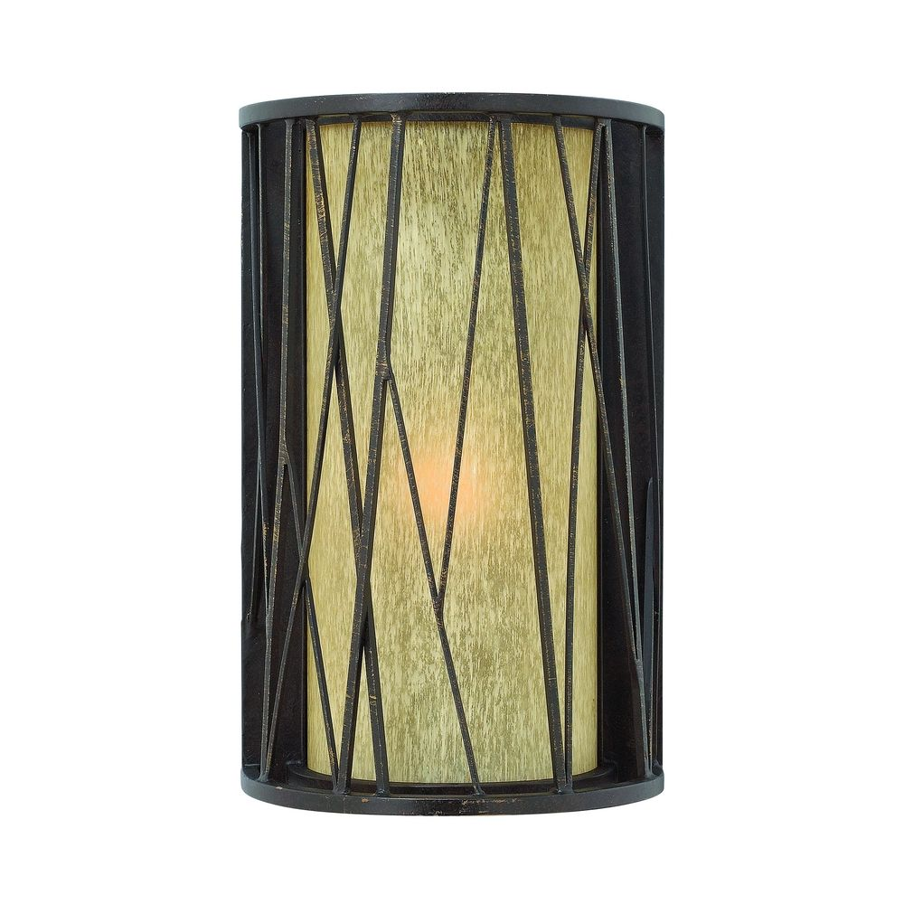Amber Glass Wall Lights : Outdoor Wall Light with Amber Glass in Regency Bronze Finish 1154RB Destination Lighting