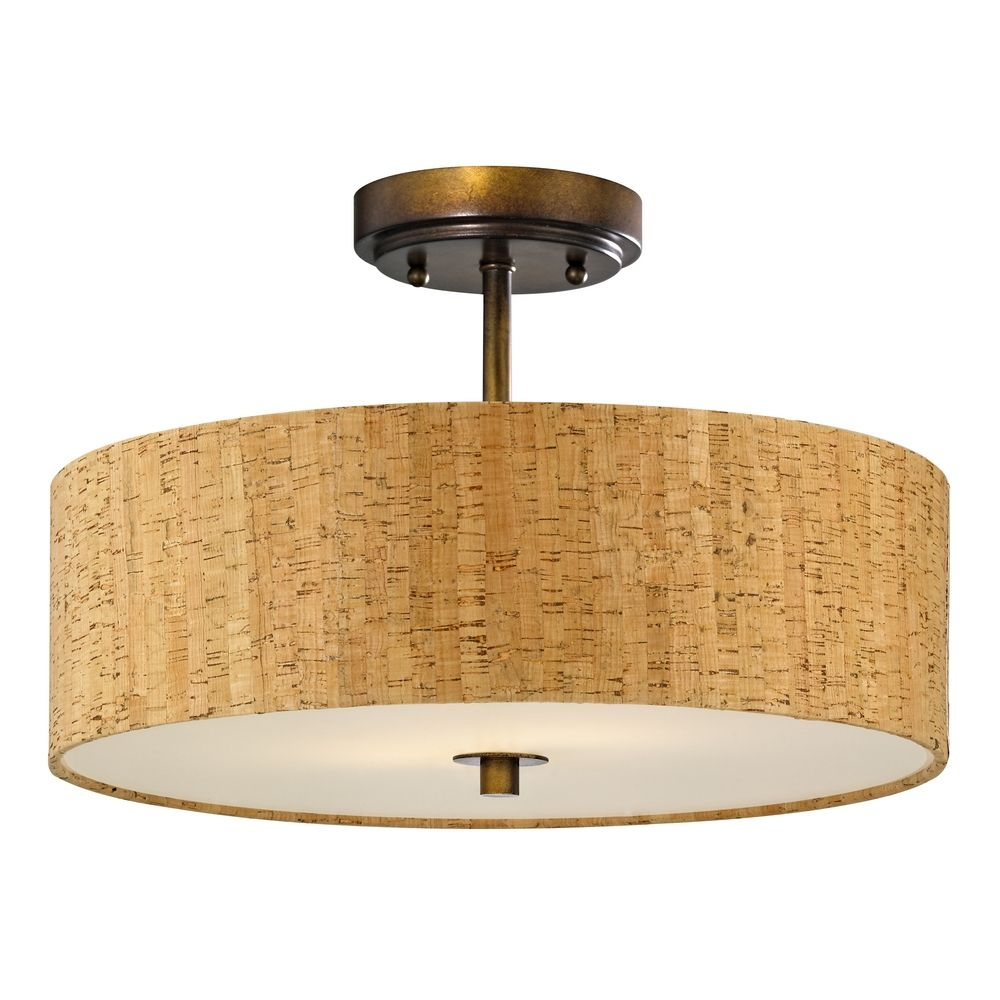 Bronze Ceiling Light with Drum Cork Shade - 16-Inches Wide