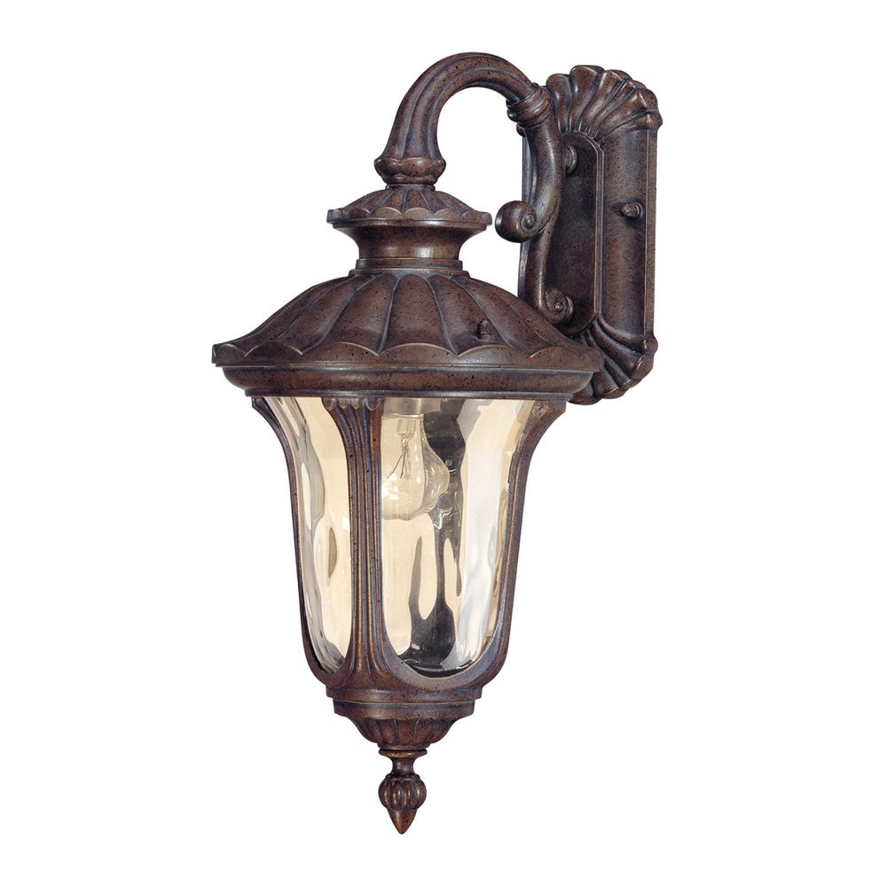 Amber Glass Wall Lights : Outdoor Wall Light with Amber Glass in Fruitwood Finish 60/2006 Destination Lighting