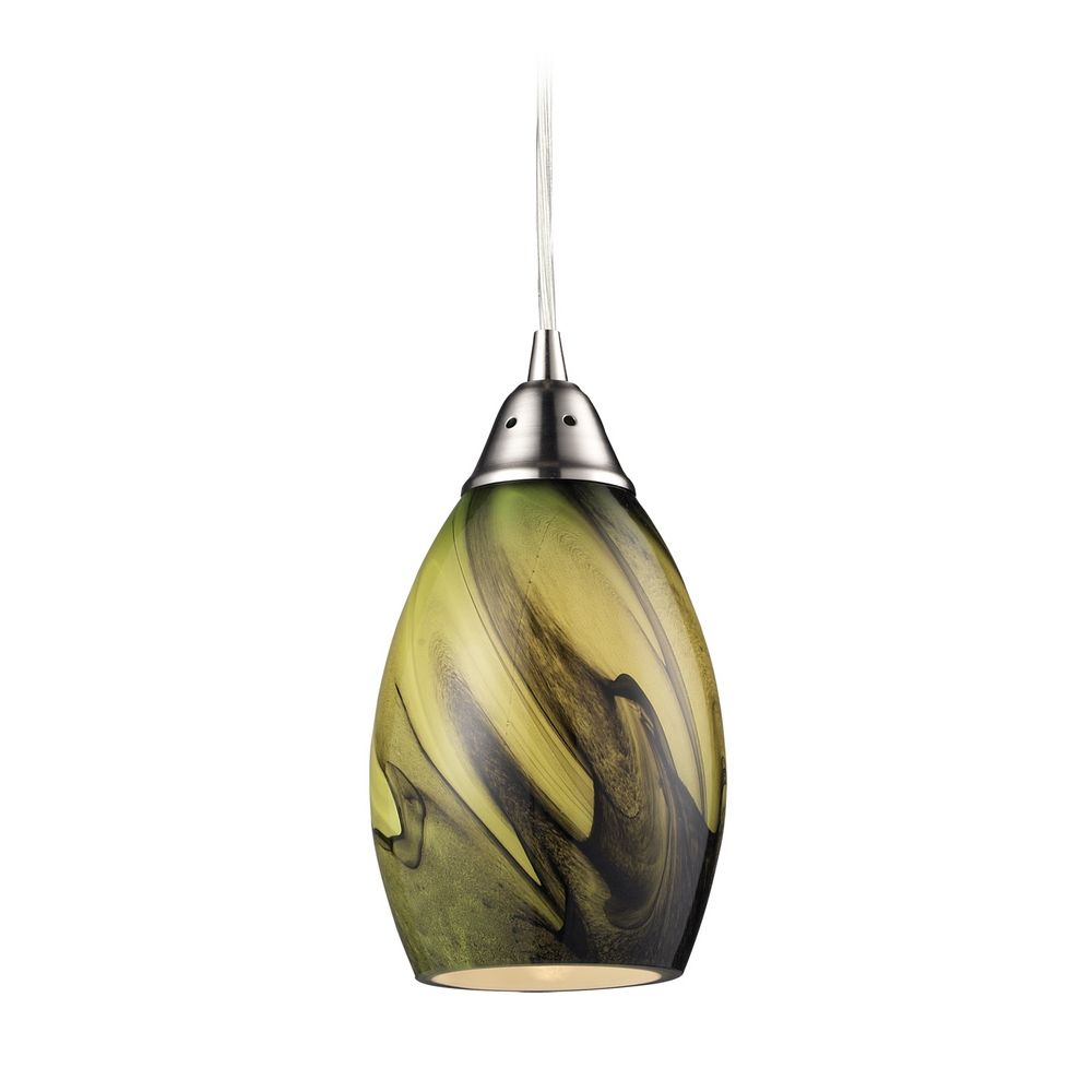 Modern Mini Pendant Light With Green Glass