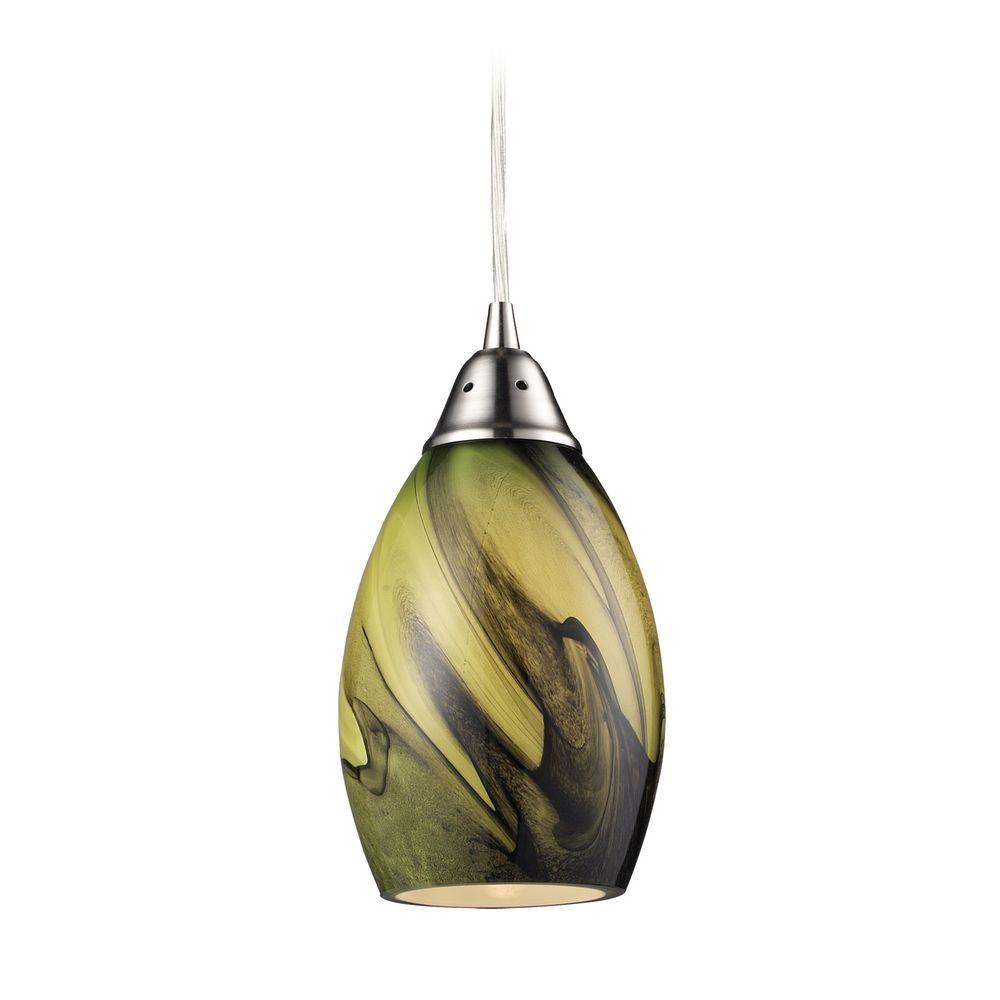 Elk Lighting Modern Mini Pendant Light With Green Gl 31133 1pln