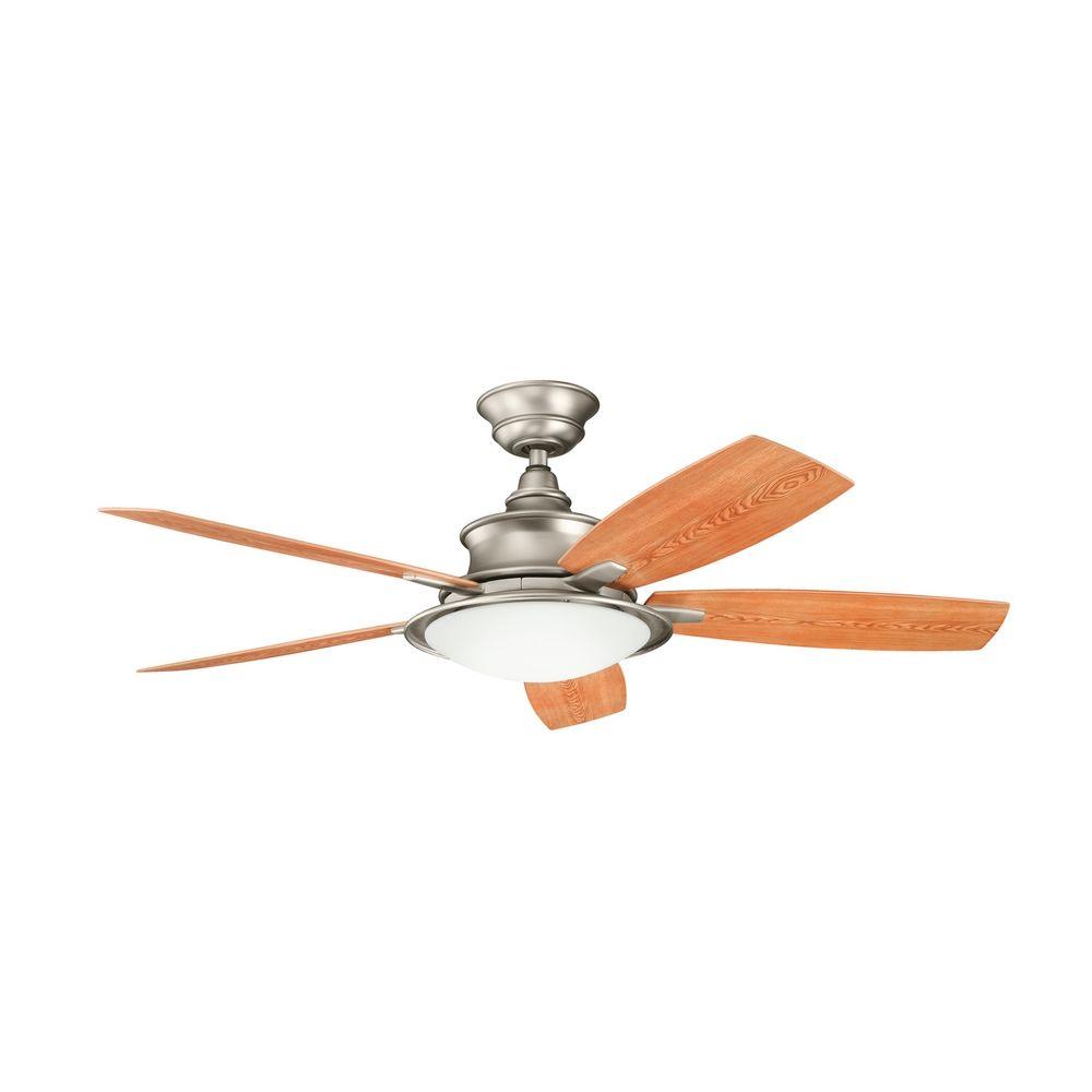 kichler lighting kichler ceiling fan with light kit in brushed nickel. Black Bedroom Furniture Sets. Home Design Ideas