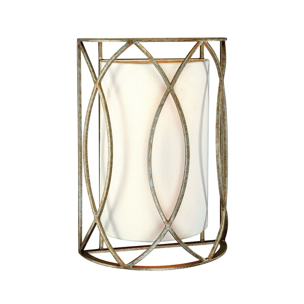 Gold Finish Wall Sconces : Sconce Wall Light with White Shades in Silver Gold Finish B1289SG Destination Lighting