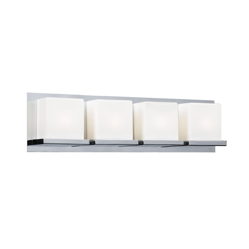 Modern Bathroom Light With White Glass In Polished Chrome Finish 18154 Pc Destination Lighting