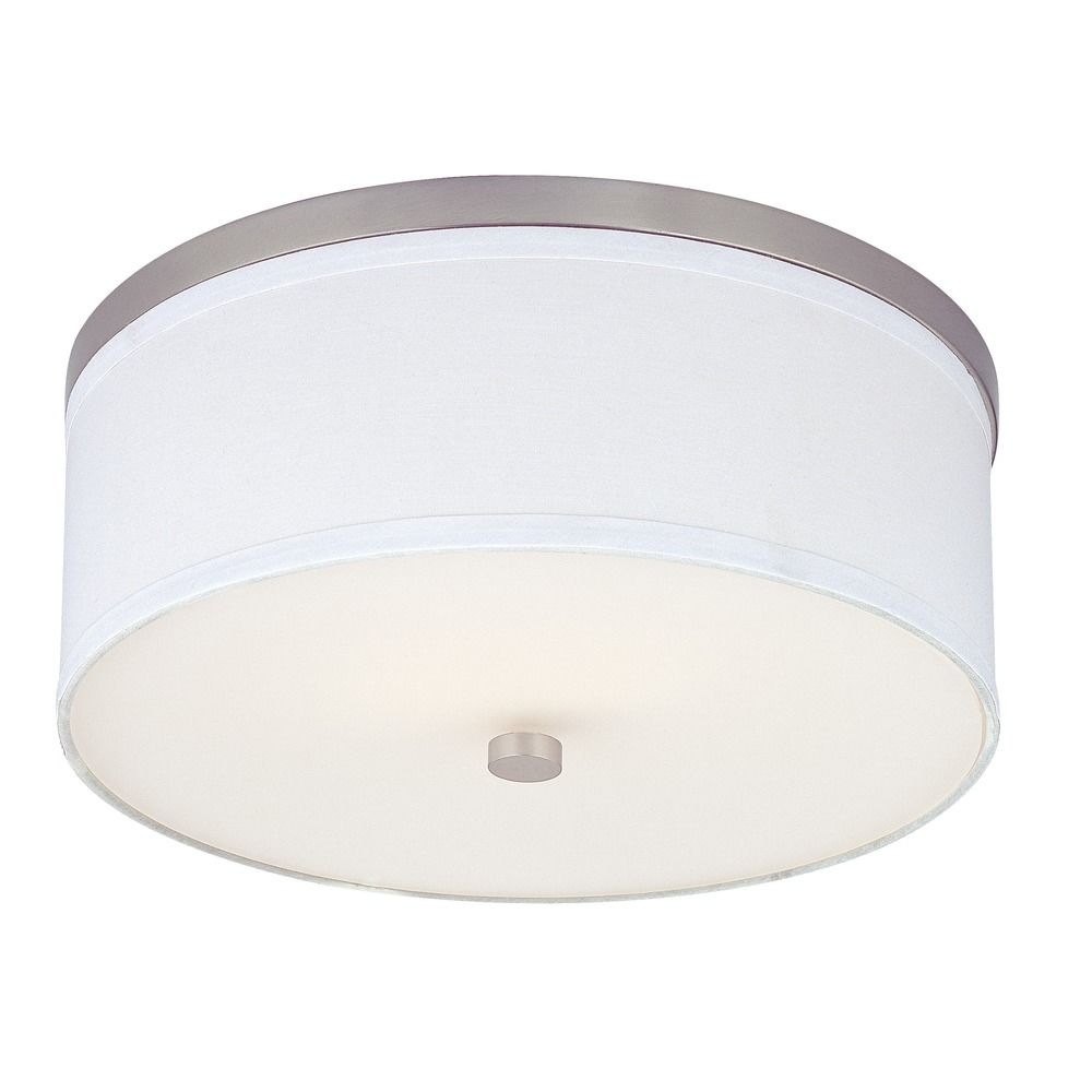Flushmount Ceiling Light with White Drum Shade 555109 SH9461