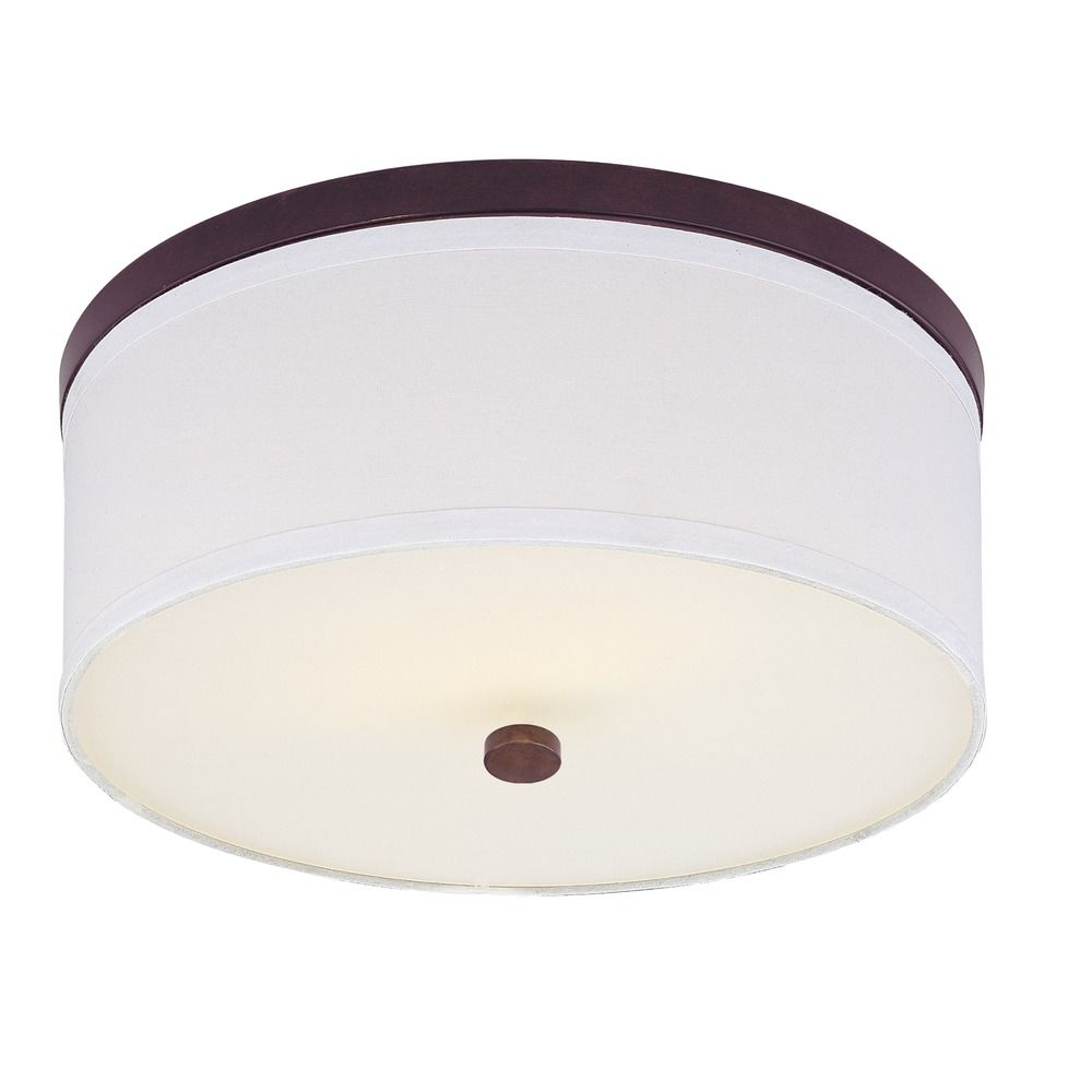 Modern Flushmount Ceiling Light with White Drum Shade 5551604