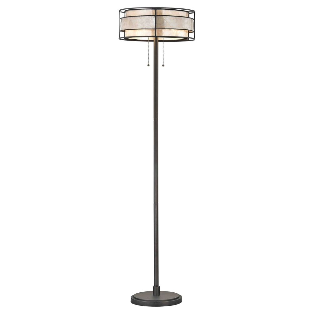 Floor Lamp With Beige Cream Mica Shades In Tiffany
