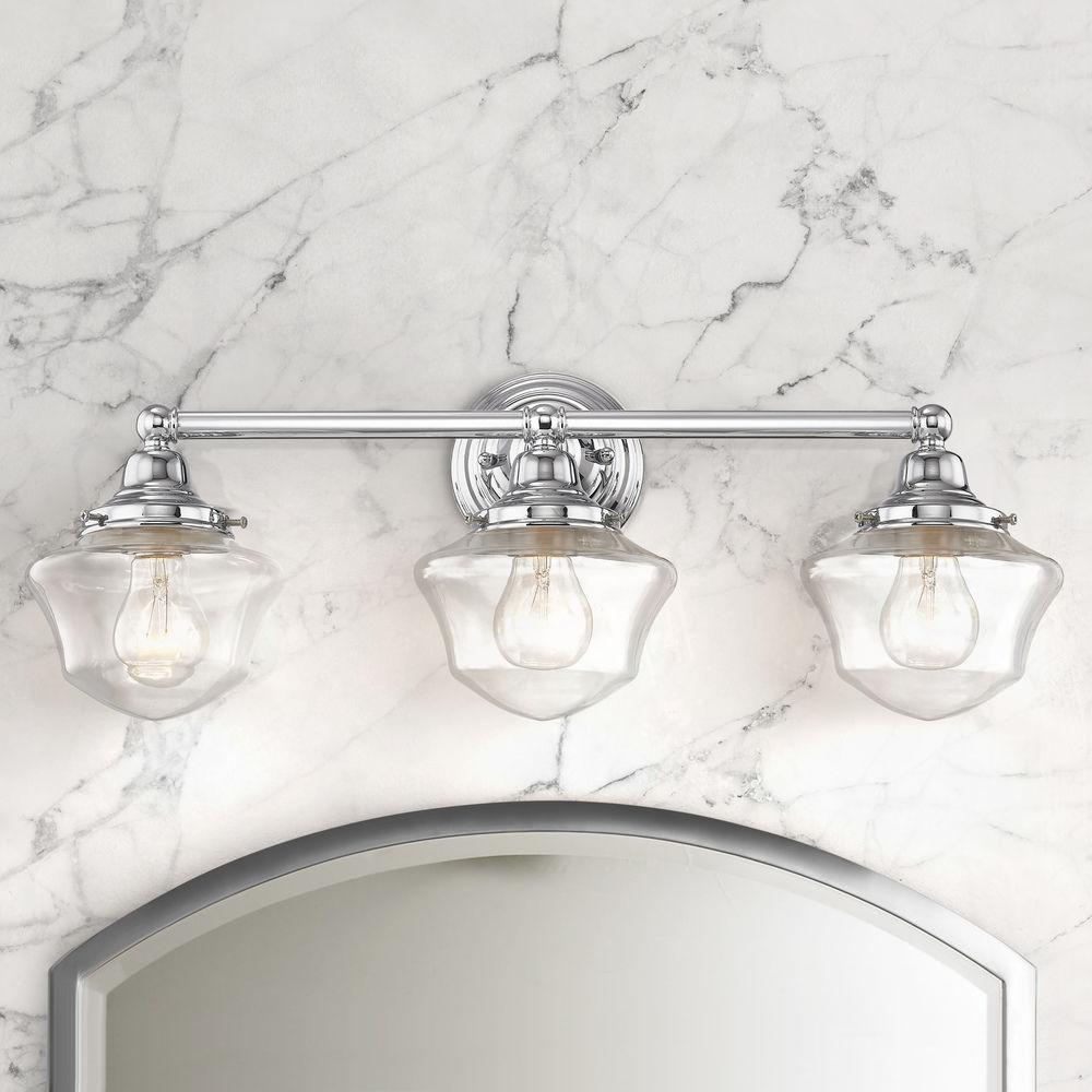 Clear Gl Schoolhouse Bathroom Light