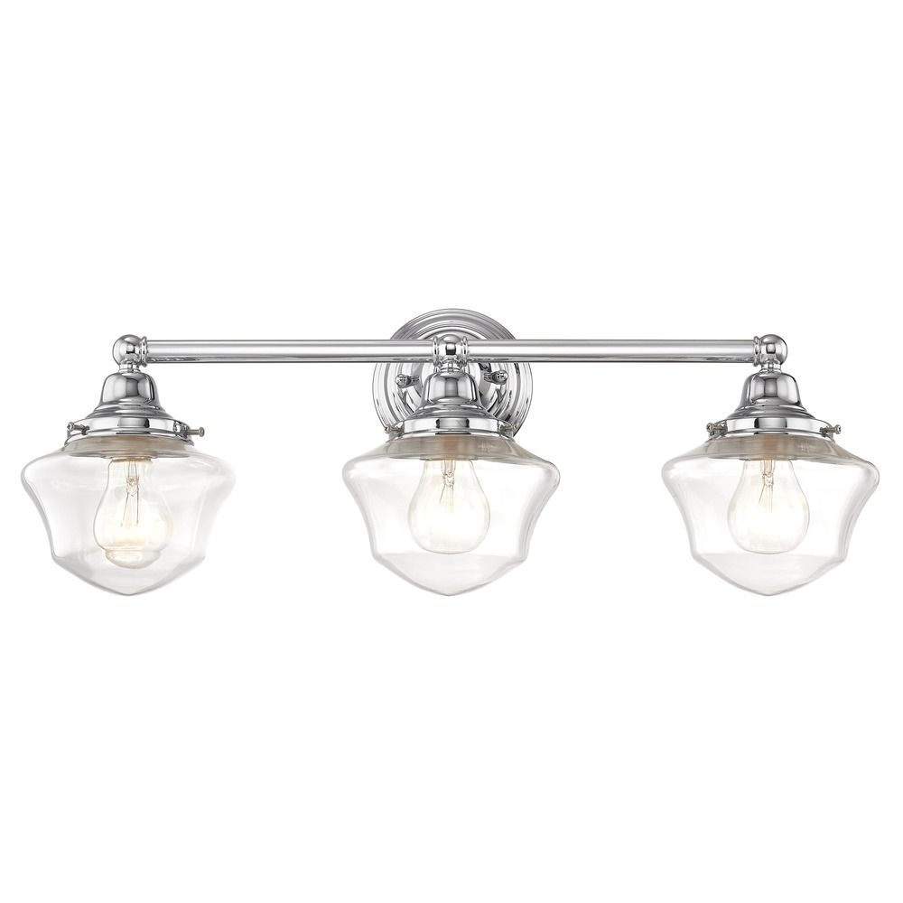 Design Classics Lighting Clear Glass Schoolhouse Bathroom Light Chrome 3  Light 23.125 Inch Length WC3