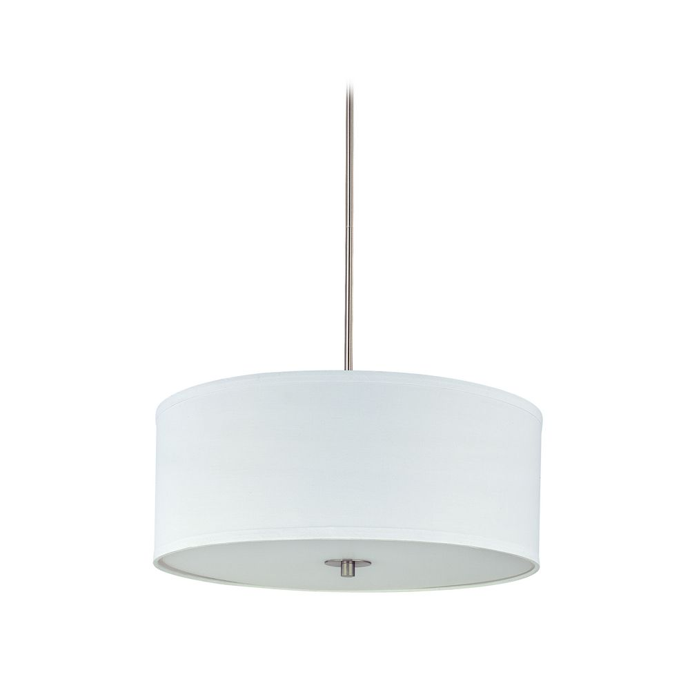 Modern Drum Pendant Light With White Shade In Satin Nickel Finish Off.