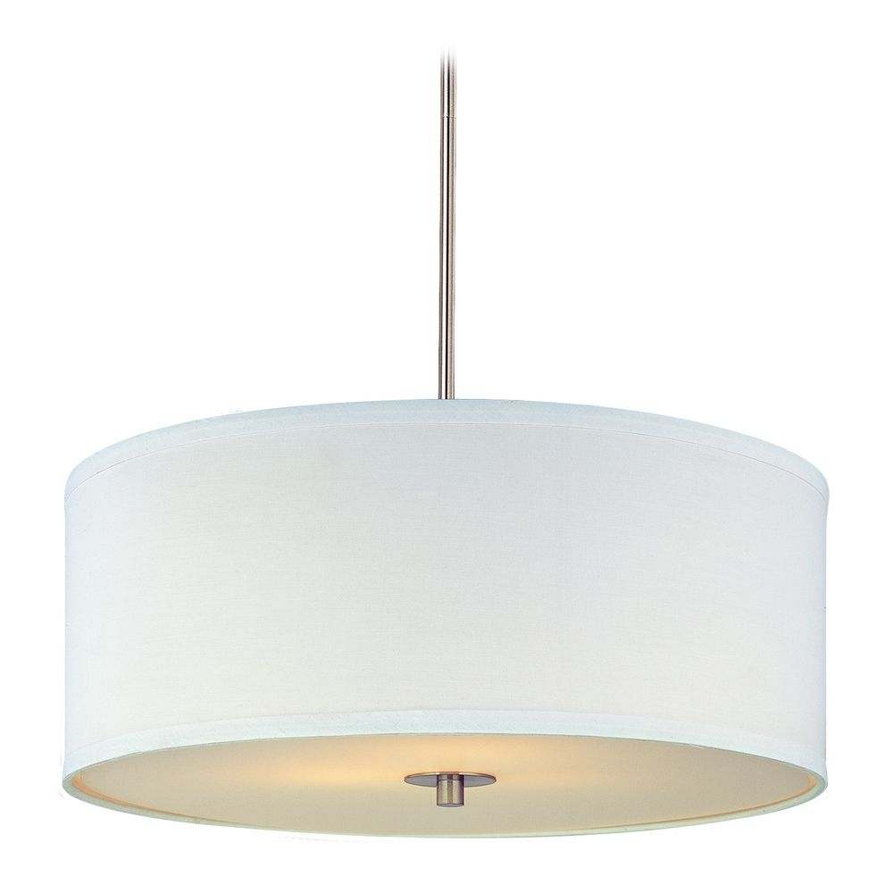 Modern Drum Pendant Light With White Shade In Satin Nickel