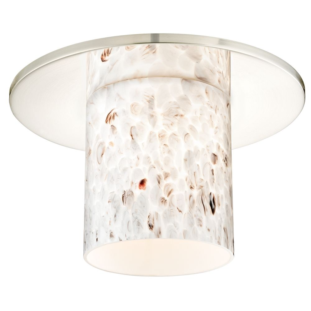 Decorative Recessed Ceiling Trim With Art Gl Cylinder Shade At Destination Lighting