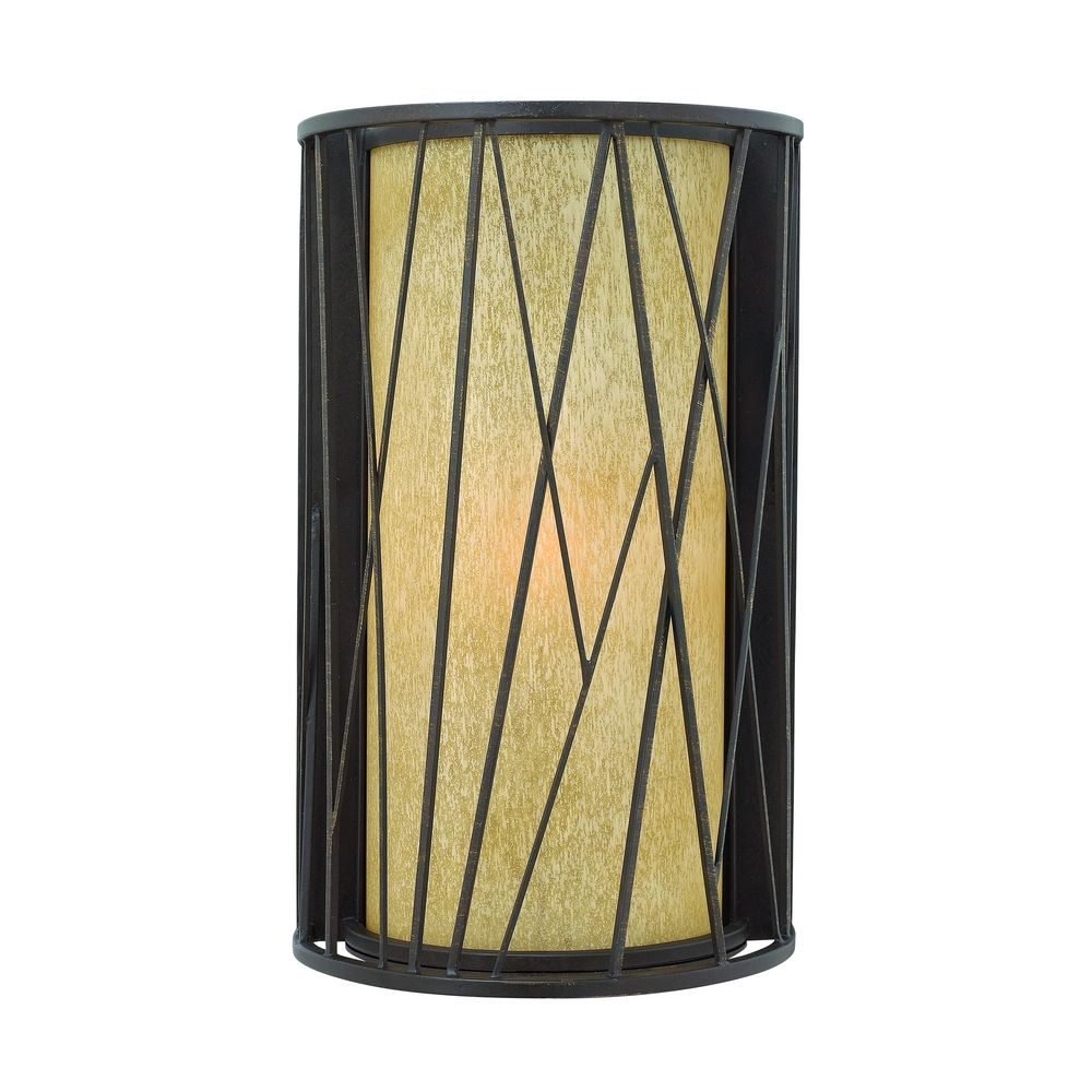 Amber Glass Wall Lights : Outdoor Wall Light with Amber Glass in Regency Bronze Finish 1155RB Destination Lighting