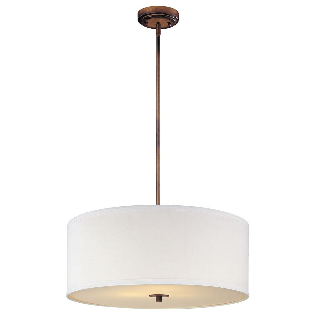 Bronze Drum Pendant Light With White Shade Alt1