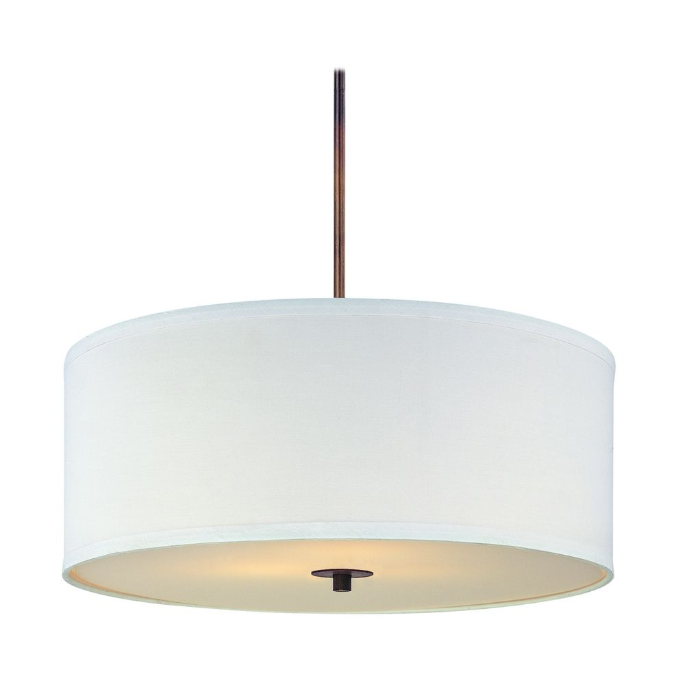 Bronze Drum Pendant Light with White Shade  DCL 6528-604 SH7566 KIT ...